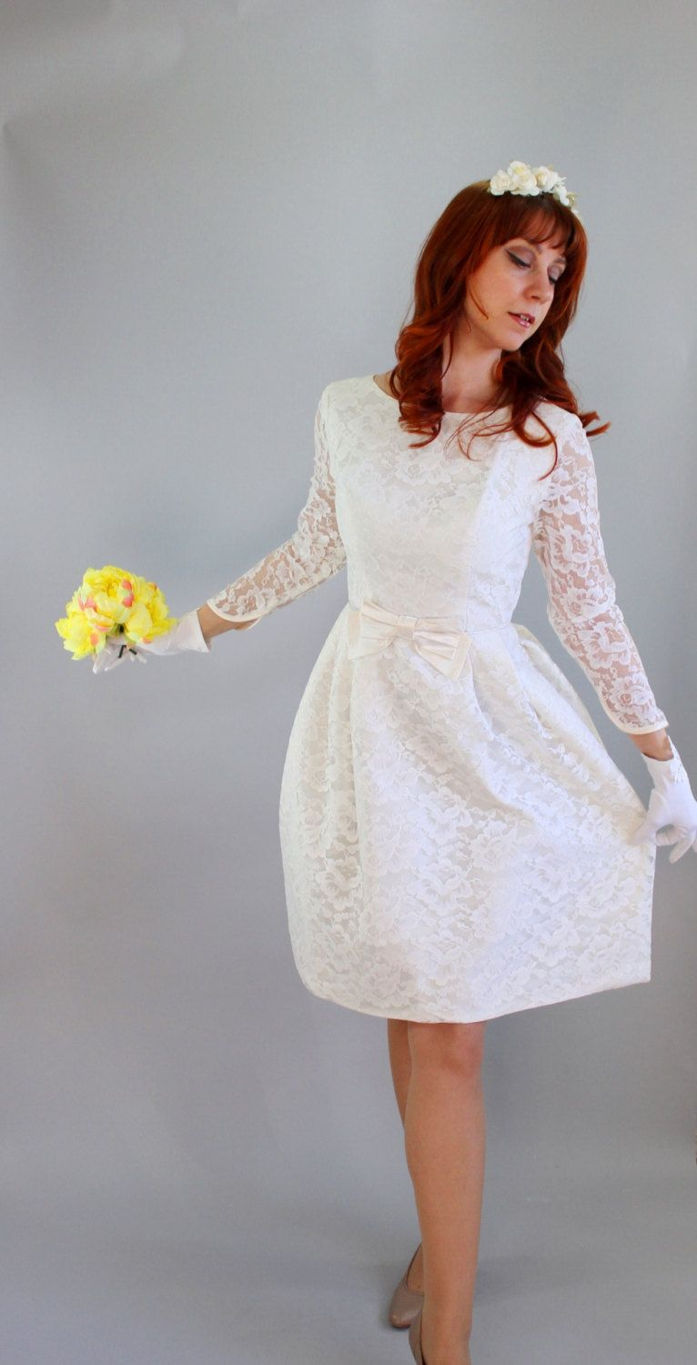 1960s Short Lace Wedding Dress. Long Sleeves. Bow. Mod
