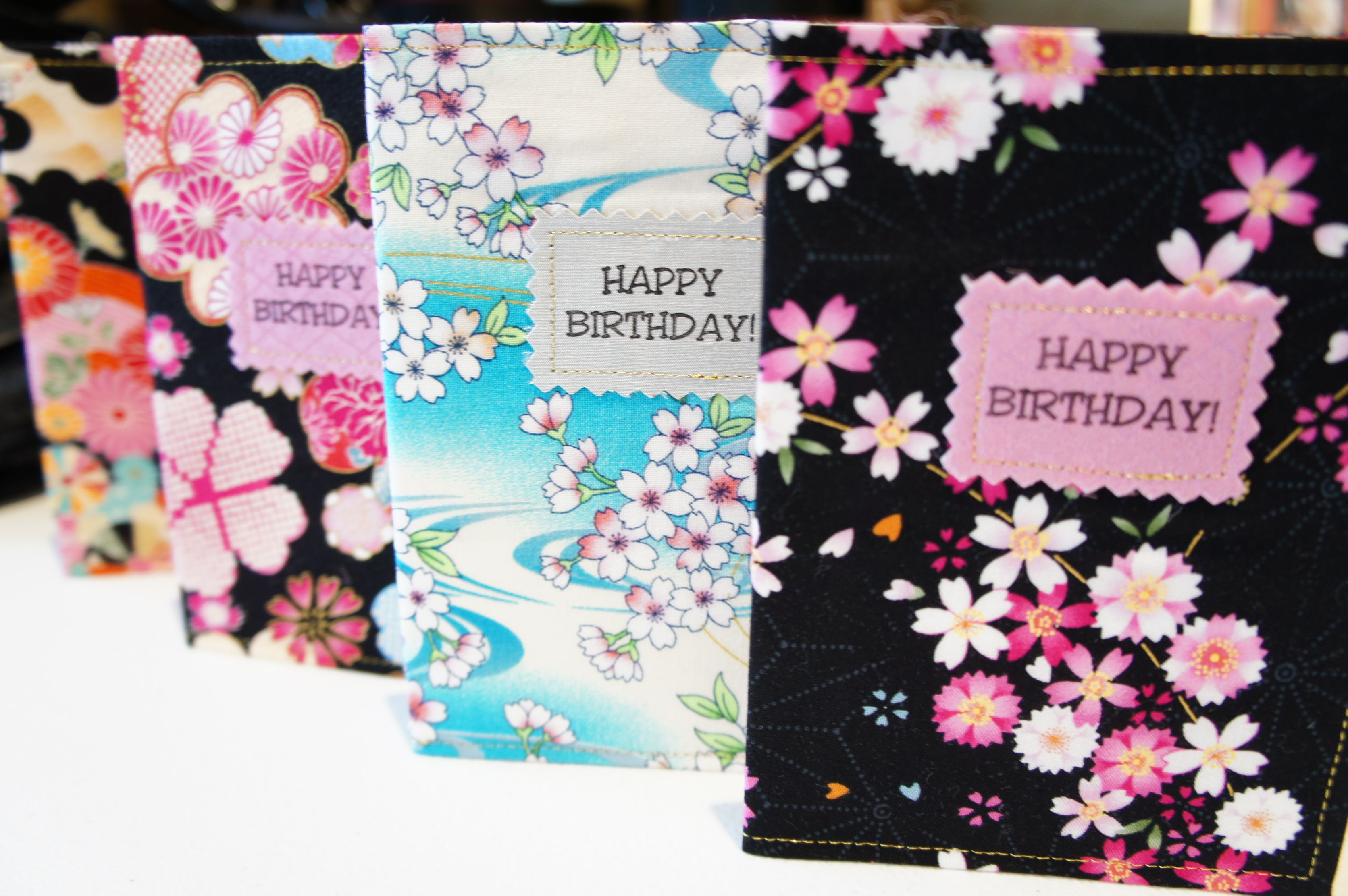 Stitched Japanese Fabric Birthday Cards Ks Own Japanese Handmade