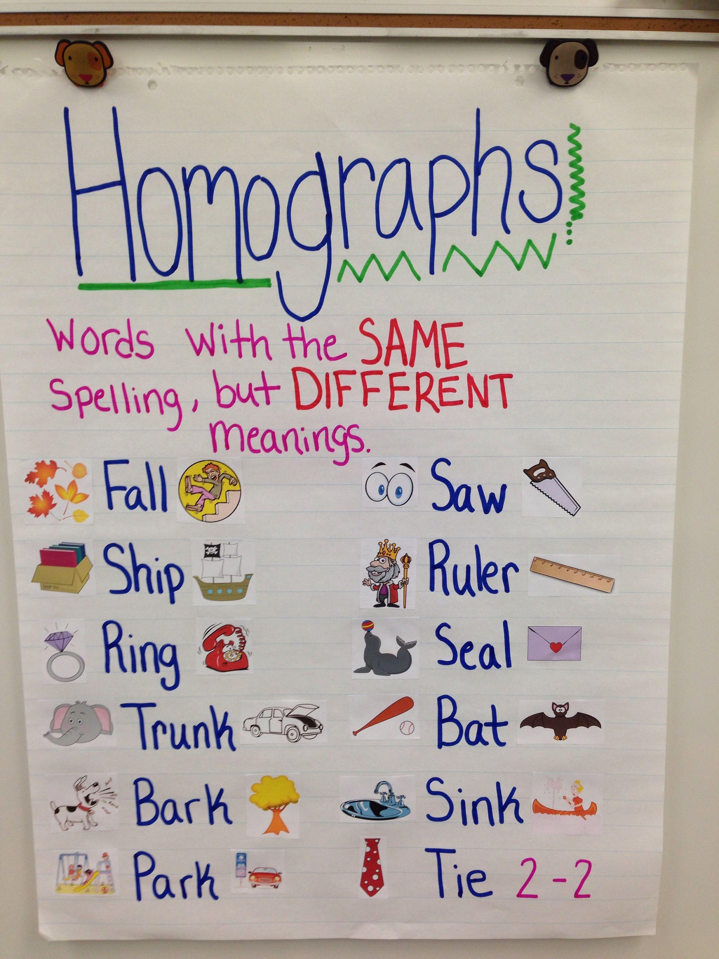 Homographs Anchor Chart