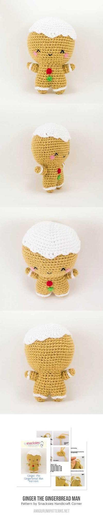 Ginger the gingerbread man amigurumi pattern by Snacksies Handicraft ...