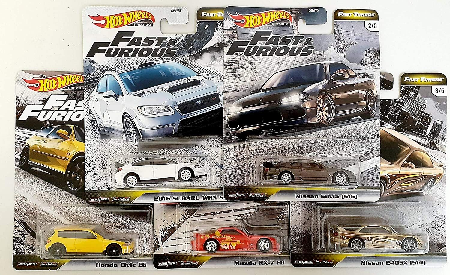 Hot Wheels Fast Furious Fast Tuners 5 Car Set Honda Civic Eg Mazda Rx 7 Fd Subaru Wrx Nissan Silvia 240sx Hw Premiu Subaru Wrx Honda Civic Hot Wheels