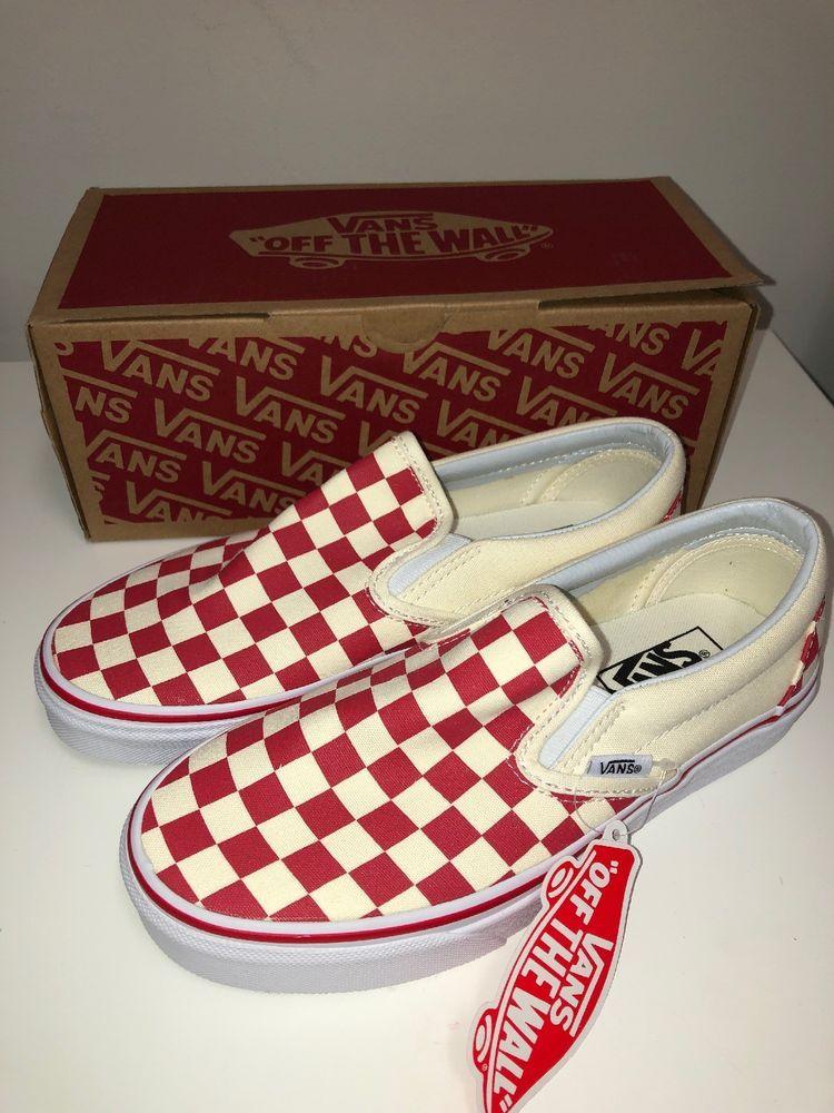Red Checkered/Checkerboard Vans Slip On