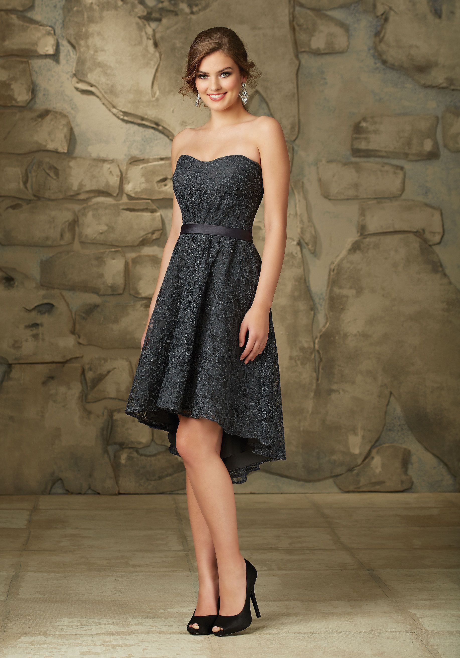 Lace bridesmaid dress with shorter front and longer back designed affairs by mori lee bridesmaid dress style 31063 ombrellifo Gallery
