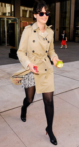 Burberry Coat. Website shows you how to get her look for less.