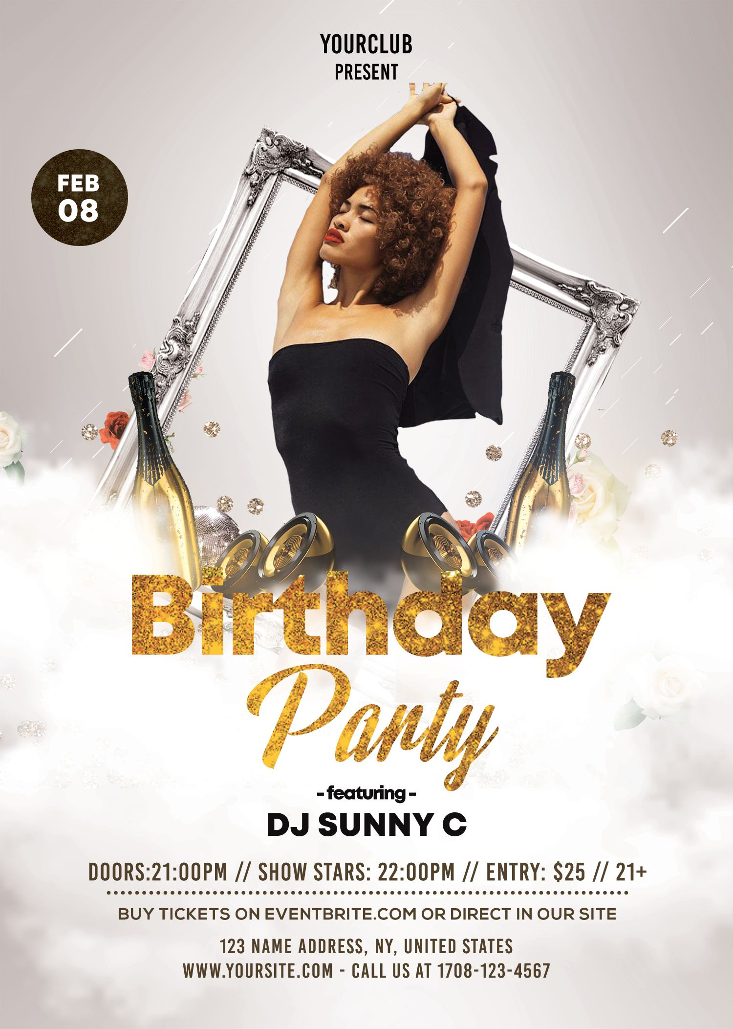 download birthday party psd flyer template for free  this white  u0026 gold is elegant luxury flyer