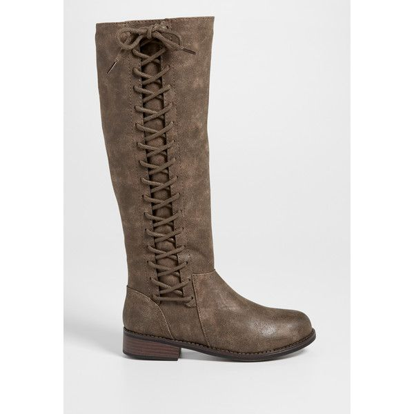 maurices Sharon Boot With Lace Up Side In Taupe, Women's, ($49) ❤ liked on Polyvore featuring shoes, boots, laced up boots, lace front boots, maurices, taupe shoes and laced boots