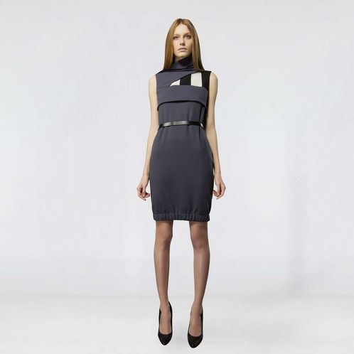 https://www.cityblis.com/4005/item/9340  DRAPED NECKLINE DRESS - $558 by LUIS BUCHINHO  Draped neckline dress featuring a stripe insert, rushing on the bottom and a black leather belt.  This dress is part of Fall / Winter 1314 Luís Buchinho Knitwear collection and it was featured in the 2013 Portugal Fashion.   note: belt included  Materials: 95% Polyester 5% Elastomer ; Belt 1...