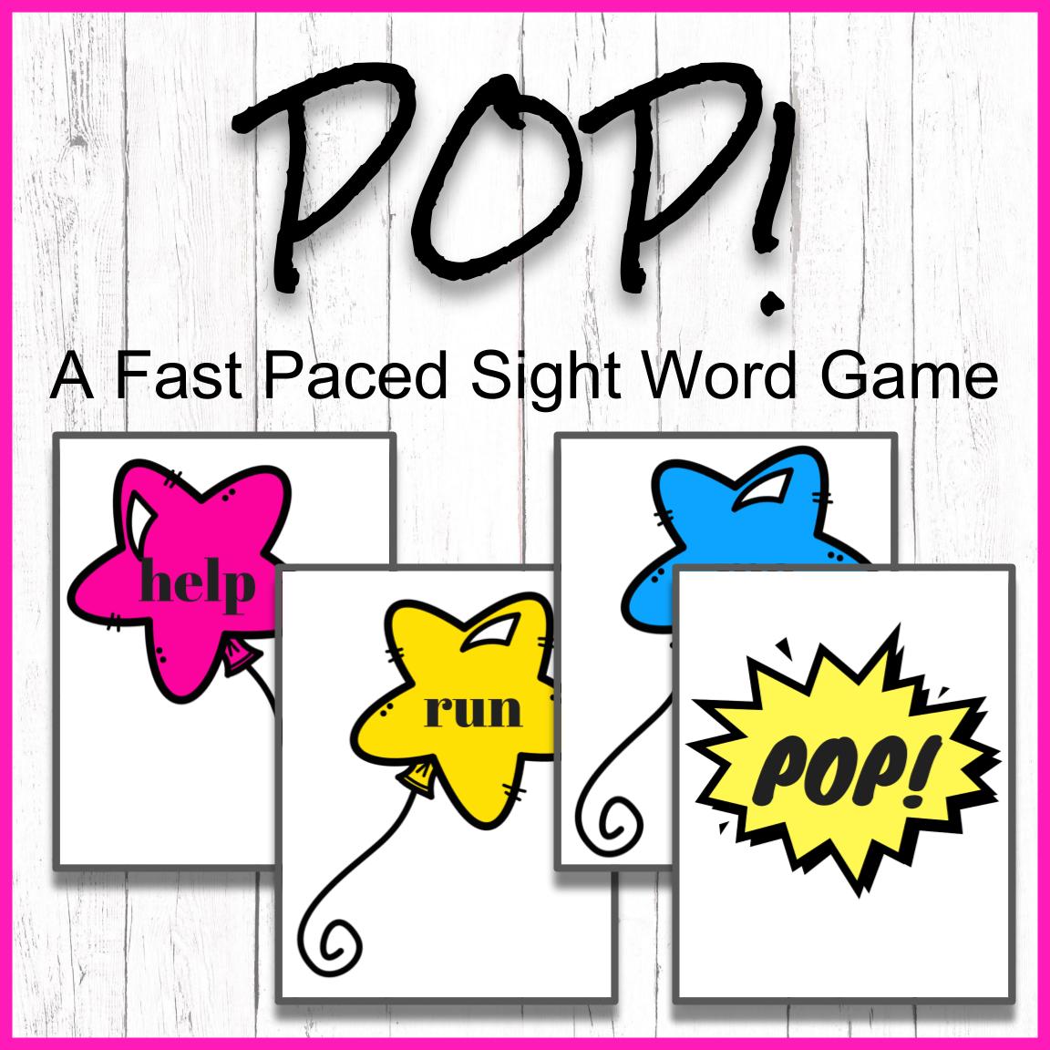 Pop A Pre Primer Sight Word Game