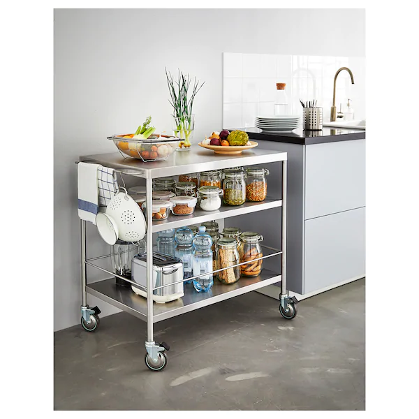 FLYTTA Kitchen cart, stainless steel - IKEA