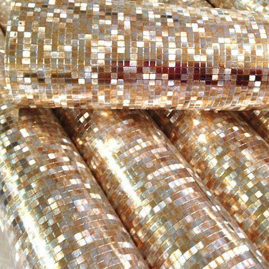 Mini Mosaic Luxury Glitter Wallpaper Background Wall Shiny Gold Foil Silver Ceiling Paper Wallcovering WP038
