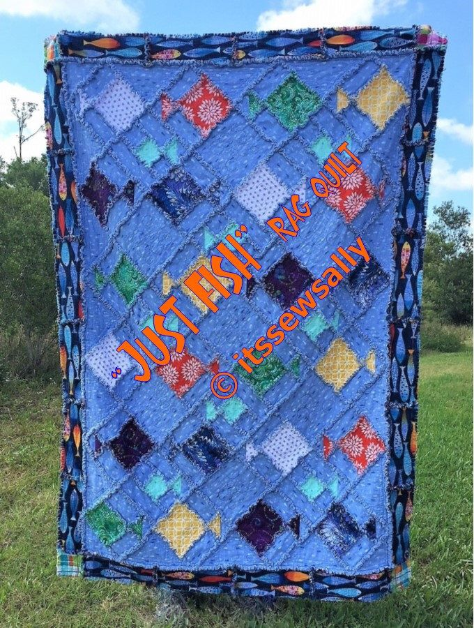 JuSt FiSh Rag Quilt PDF PATTERNTUTORIAL Two sizes