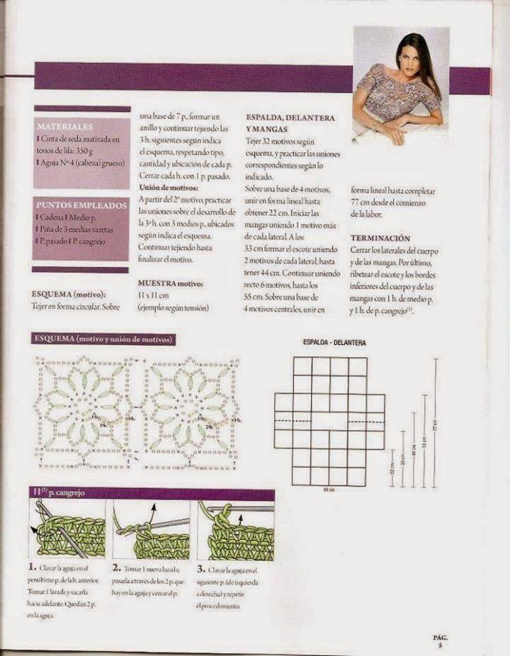 Top de Flores corto instrucciones - Patrones Crochet   Blusa ...