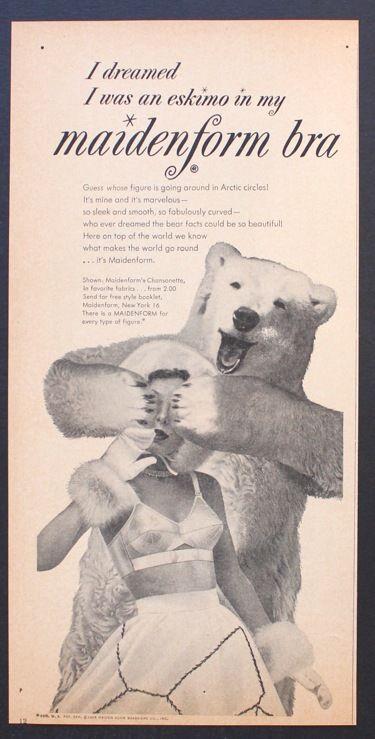 a336fe6ddf4e7 I dreamed I was an eskimo in my Maidenform bra 1954 Polar Bear Lingerie  Underwear Print Ad