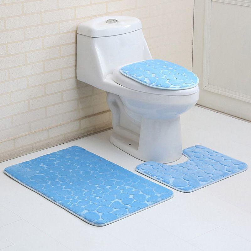 3 Teile/satz Bad Teppich Wc Deckel Badezimmer Mat Set Wc Sitzbezug Teppiche  Badematten Rutschfeste
