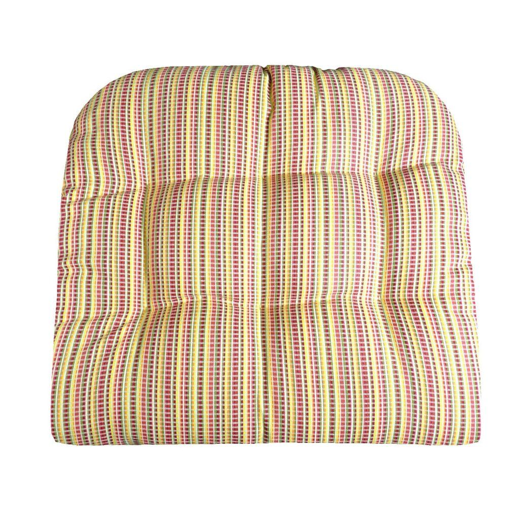 Atwood Plaid Patio Cushions Indoor Outdoor Dining Chair Pads