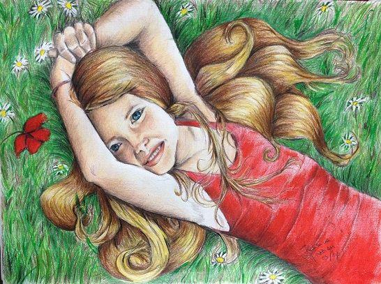 INCANTO JESSICA FAZZION Tecnica mista su cartoncino, cm 24 x 33  Ci vuole lo spirito di una bimba (o un bimbo), pulito e ancora pieno di incanto per prendersi e saper godere un momento di vero relax.