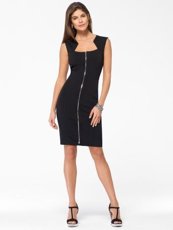 CACHE BLACK DRESS Sexy sheath dress with full front zip and ...