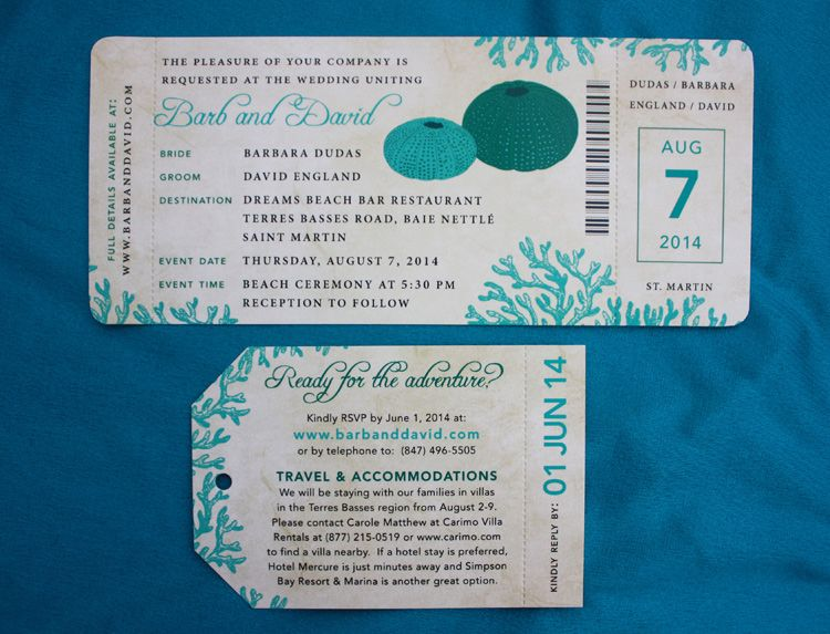 Turquoise  Teal Sea Urchin  Coral Antique Airline Ticket Wedding