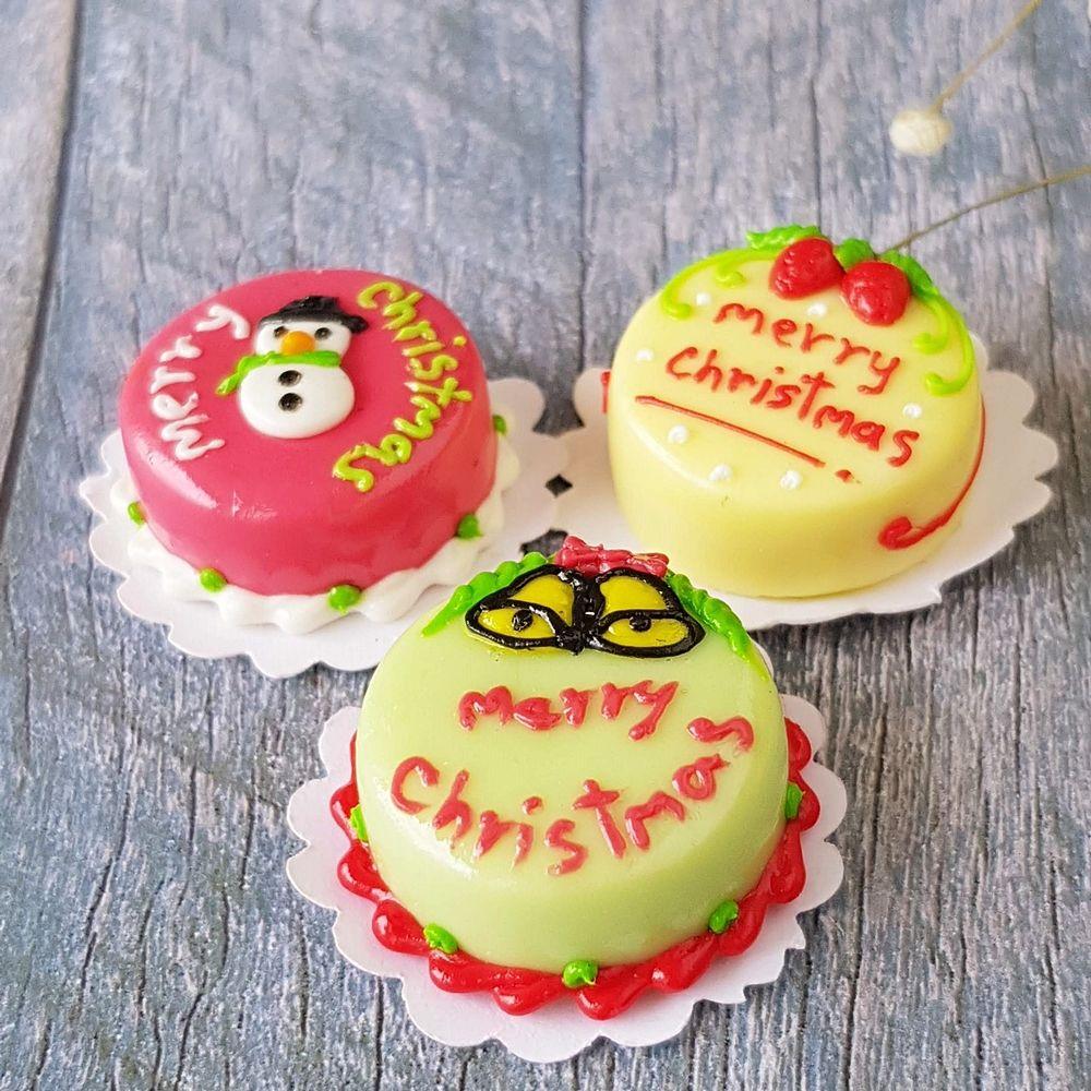 3x Christmas Cake Dollhouse Miniature Food Bakery Cafe Shop