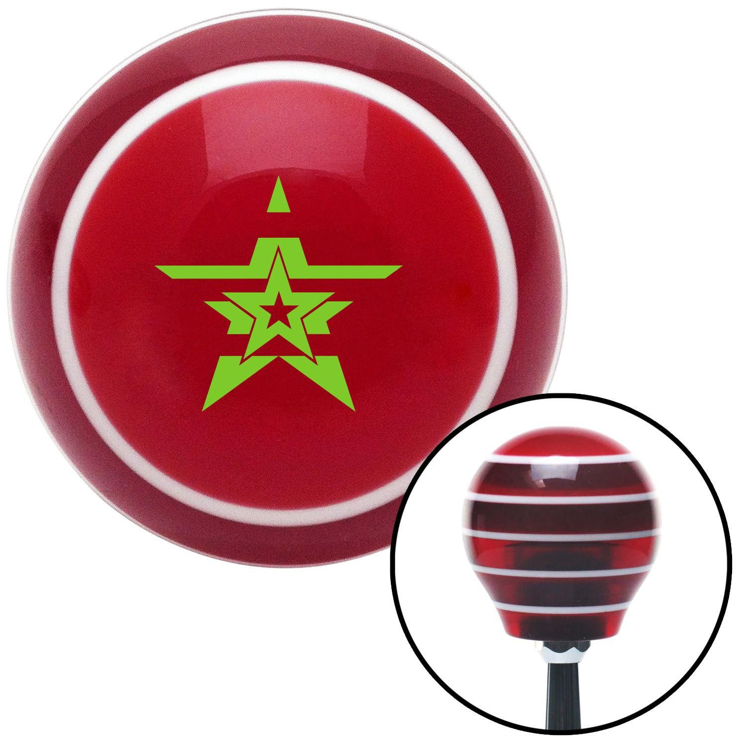 Green Star in a Star in a Star Red Stripe Shift Knob with M16 x 15 Insert - Give your interior the ultimate look. American Shifter's Elite(TM) series shift knobs are made from the highest quality components resulting in a superior feel on every shift. Each shift knob is designed and customized in the USA by skilled shift knob artisans who have a trained eye on every detail. American Shifters shift knobs offers an exclusive aluminum threaded insert designed to be screwed onto your shift arm…