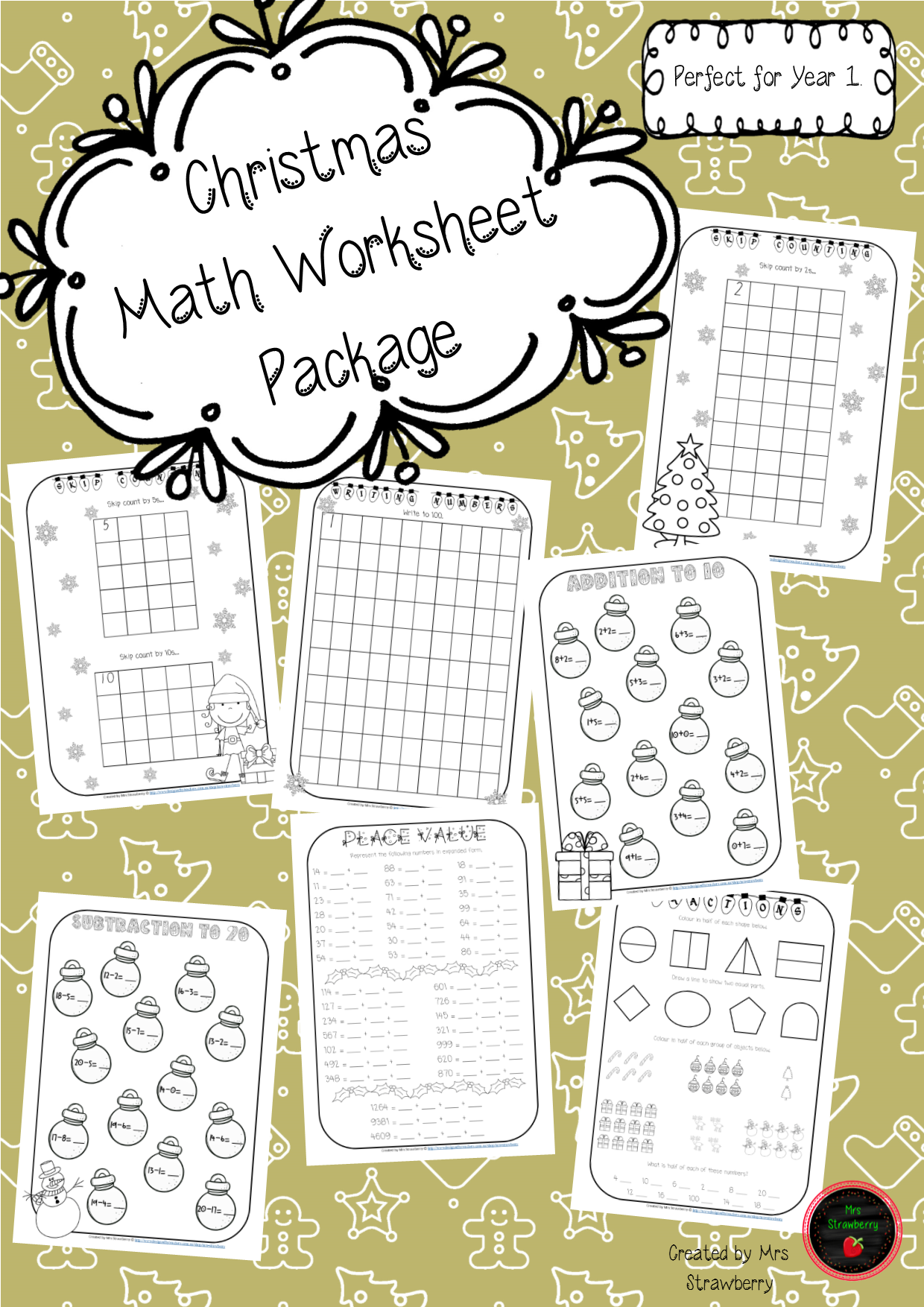 Christmas Math Worksheet Package