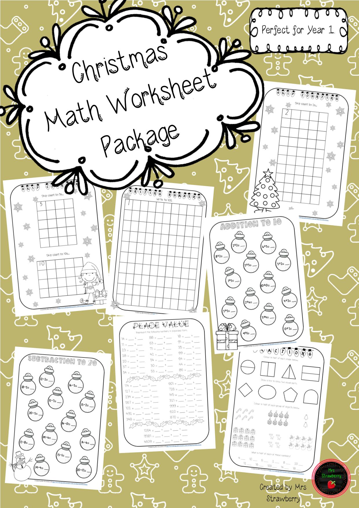 Christmas Math Worksheet Package