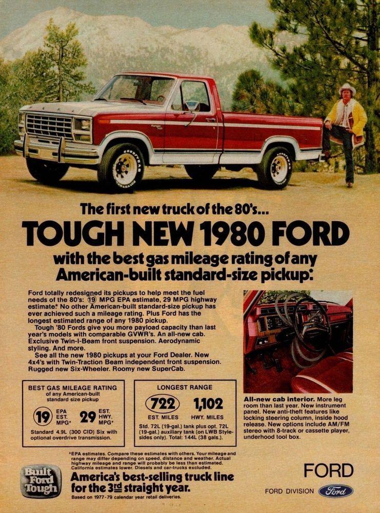 1980 Ford F150 F 150 Ranger Red White Pickup Truck Vintage Color