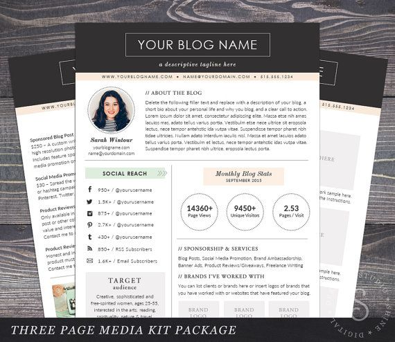 Instant Download Media Kit Template The Modern