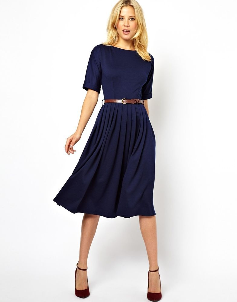ASOS Skater Midi Dress Retro Vintage 60er 50´s Kleid Blue Black 36 S ...