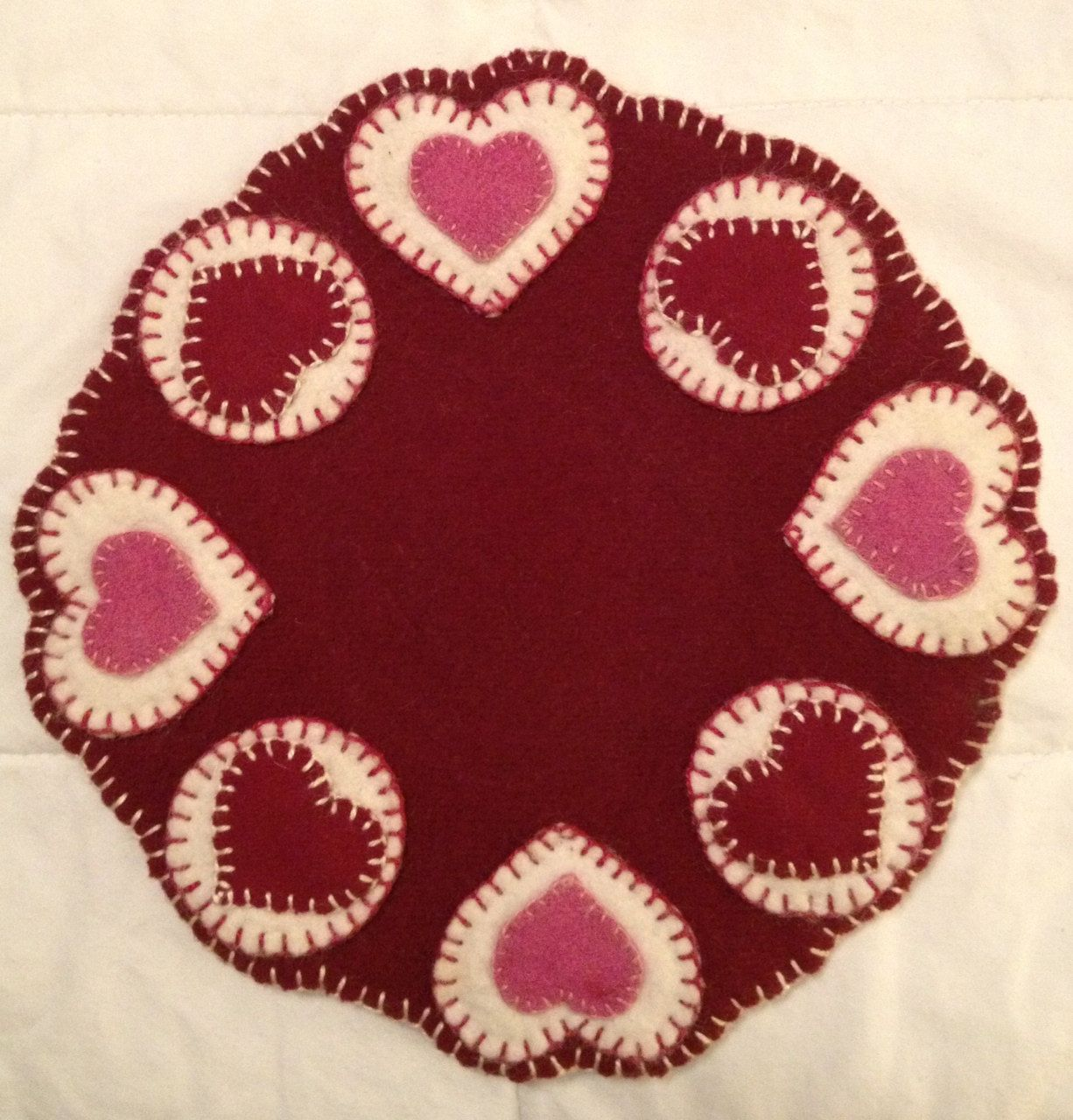Felted Wool Hearts & Pennies Penny Rug / Candle Mat