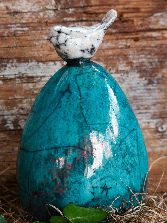 Uova Di Pasqua Ceramica.Uovo Di Pasqua In Ceramica Raku Blu Con Uccellino Bianco Regalo Di