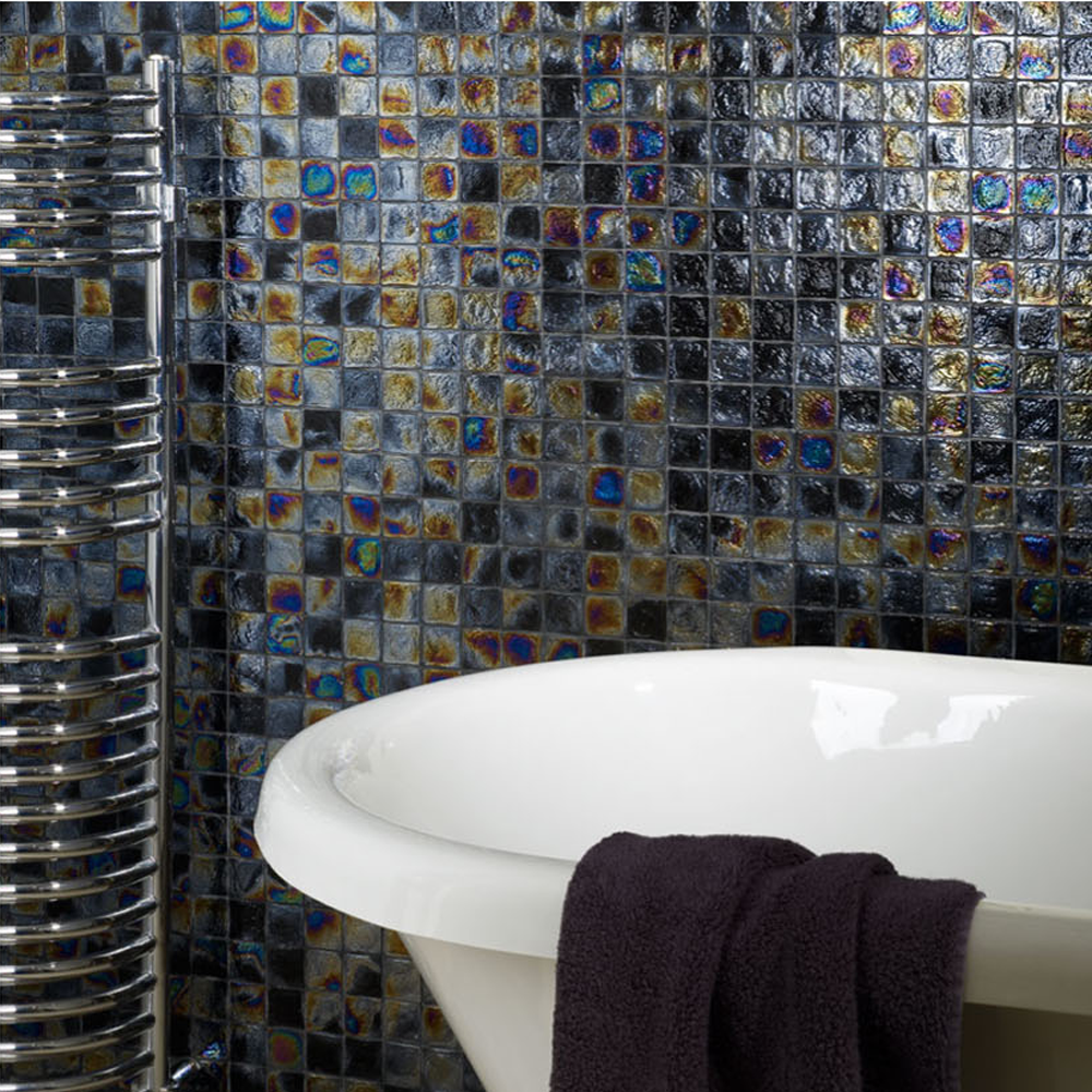 The Diesel Black Square Glass Mosaic Is Perfect For Creating A Cool Mosaic Feature Tiles Bathroom Inspiration