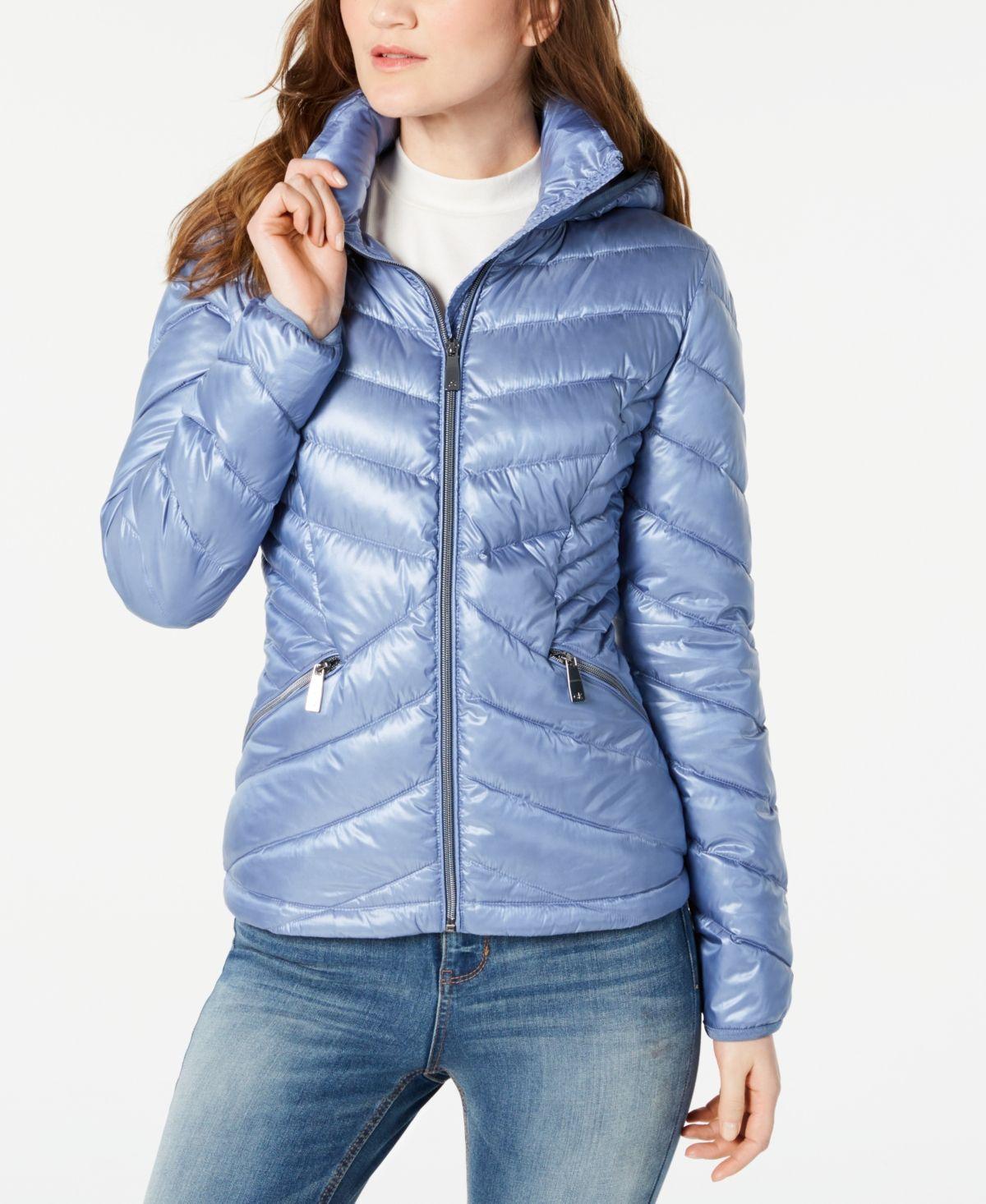 Calvin Klein Chevron Packable Down Puffer Coat Created For Macy S Down Puffer Coat Puffer Coat Blue Puffer Jacket [ 1466 x 1200 Pixel ]