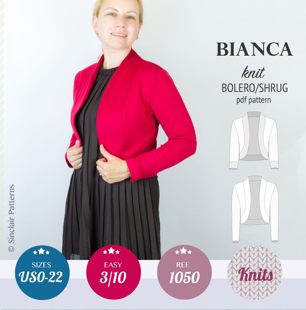 PDF Sewing Patterns Sinclair Patterns Bianca knit bolero/shrug (PDF ...
