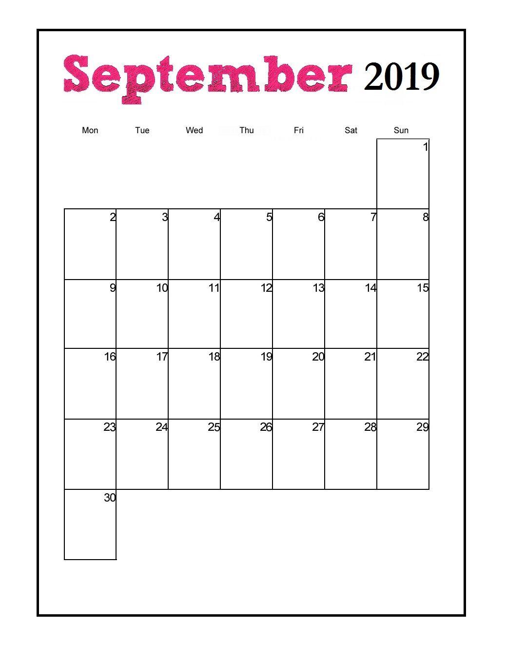 Printable 2019 Vertical Monthly Calendar Monthly Calendar