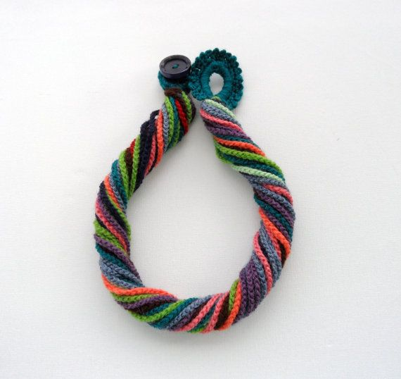 Crochet Necklace - Multicolored Necklace - Chunky Crochet Chain ...