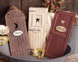 Outhouse Doors Signs Bathroom Wall Decor Set Of 3 Welcome Privy