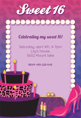 Sweet 16 Free Printable Birthday Invitation Template