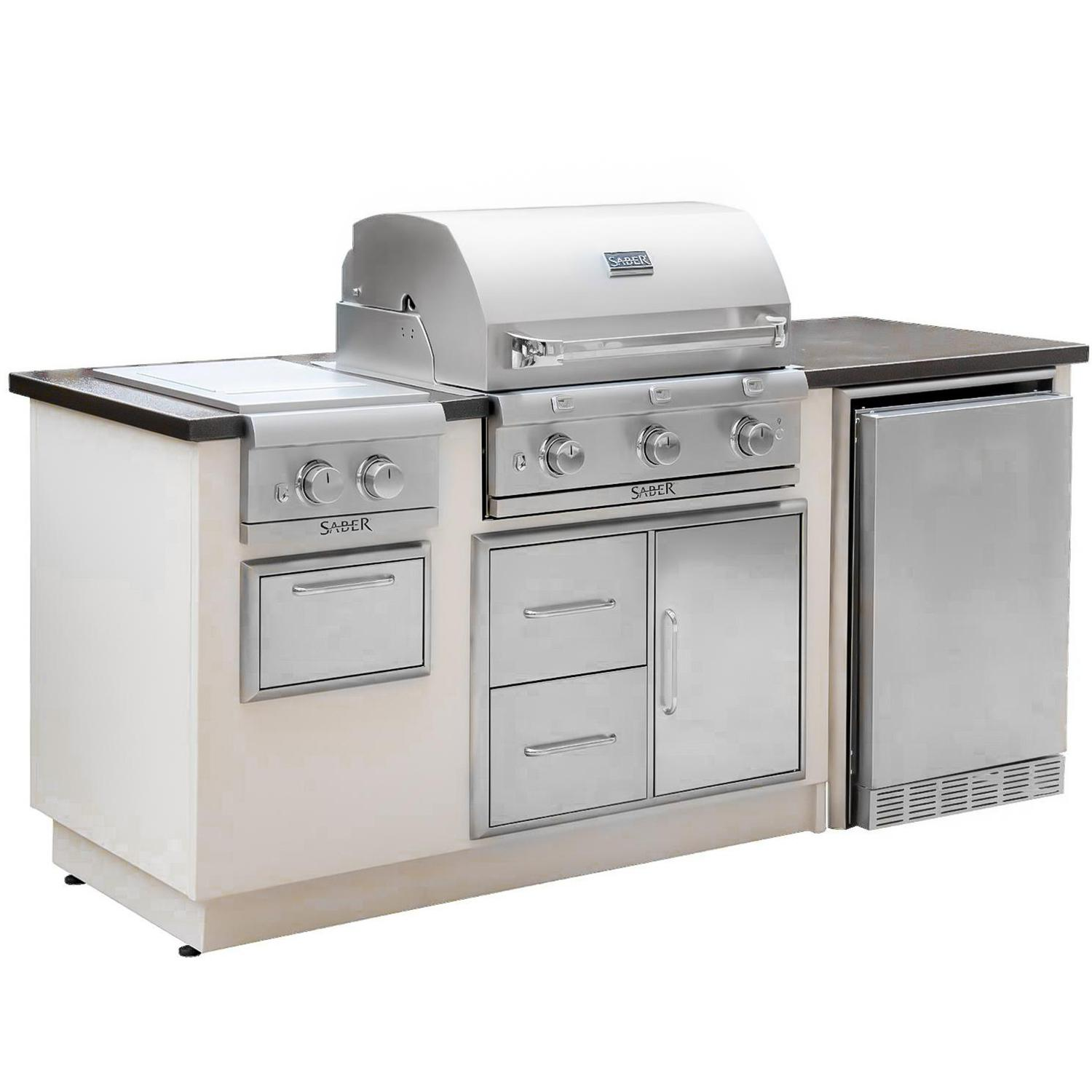 Saber Grills Saber R Series Ez Outdoor Kitchen With Propane Grill And Side Burner Ships Outdoor Kitchen Kits Outdoor Kitchen Outdoor Kitchen Island