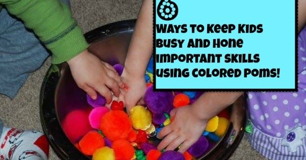 6 Ways to Keep your kids busy using colored Poms