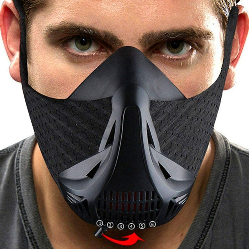Aduro Sport Workout Training Mask Peak Resistance - Black Achieve High Altitude Elevation Effects with 4 Level Air Flow Regulator for Running Biking Training and Fitness