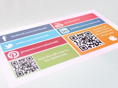 Social business card with 2 qr codes social business business this is the back of a business card i did for a client who requested having a qr code on the back we ended up going with 2 different qr codes in colourmoves Gallery