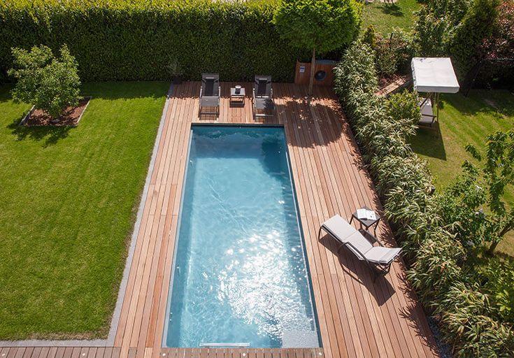 Exklusiver Individueller Garten Mit Pool Haus Ideen Backyard Pool Raised Garden Beds Irrigation Pool Landscaping