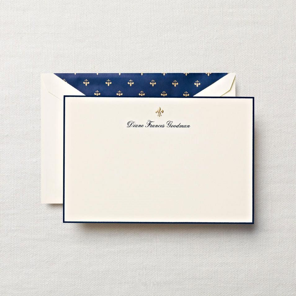 Personalized Papers Executive Stationery: Hand Engraved Motif On Card With Border