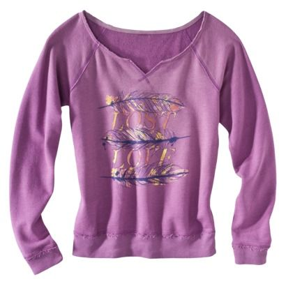 Mossimo Supply Co. Juniors Feather Graphic Pullover - Iris Mauve