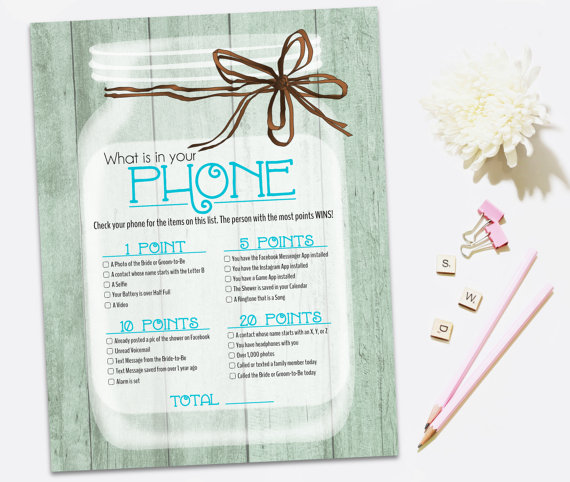 printable bridal shower game rustic bridal shower game whats in your phone