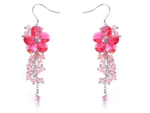 Petite Rose Pink Cluster of Baubles Beaded Flower Fashion Dangle Earrings | eBay