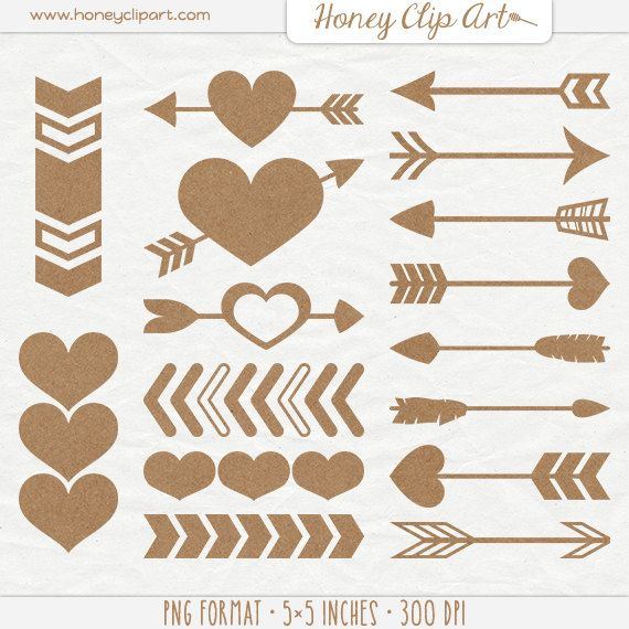 Digital Kraft Paper Heart And Arrow Shapes