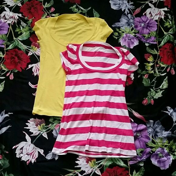 Express sexy basic tee Bundle of 2 express sexy basics tees. Willing to sell separately for 13 each. Express Tops Tees - Short Sleeve