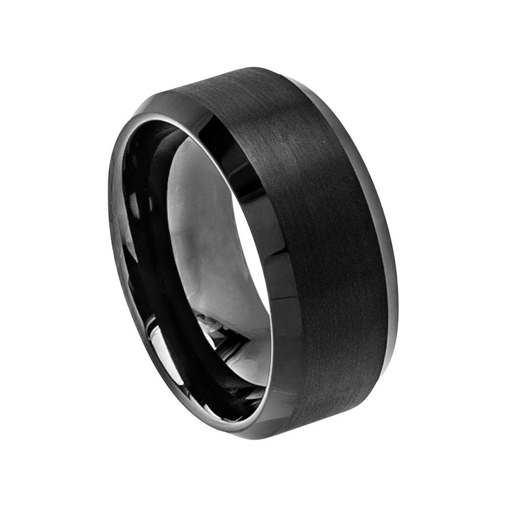 Black Wedding Band Mens Wedding Band 10mm Engagement Band Brushed Black Tungsten Carbide Man Wedding Ring Black High Polished Beveled Edges With Images Tungsten Carbide Wedding Bands Black Tungsten Rings Mens